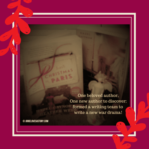Last Christmas in Paris by Heather Webb & Hazel Gaynor ARC with another Hazel Gaynor novel. Book Photography Credit: Jorie of jorielovesastory.com. Photo edits and collage created in Canva.