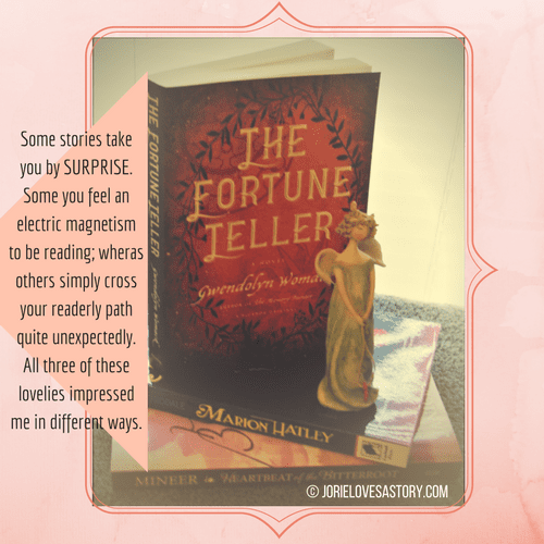 The Fortune Teller, Marion Hatley and Heartbeat of the Bitterroot bookmail. Book Photography Credit: Jorie of jorielovesastory.com. Photo edits and collage created in Canva.