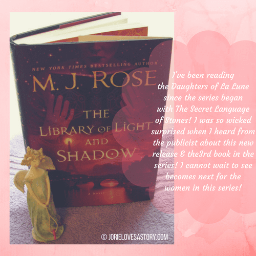 The Library of Light & Shadow bookmail. Book Photography Credit: Jorie of jorielovesastory.com. Photo edits and collage created in Canva.