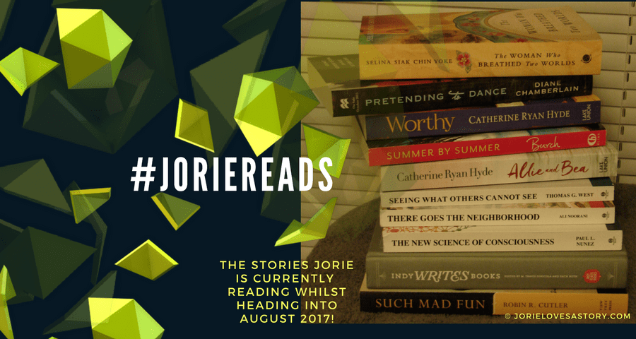 Stack of Current Reads for Jorie. Book Photography Credit: Jorie of jorielovesastory.com. Photo edits and collage created in Canva.