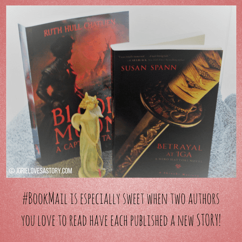 Blood Moon and Betrayal at Iga bookmail. Book Photography Credit: Jorie of jorielovesastory.com. Photo edits and collage created in Canva.