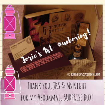 Unboxing DE Night debut novel bookmail. Book Photography Credit: Jorie of jorielovesastory.com. Photo edits and collage created in Canva.