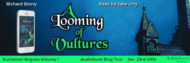 A Looming of Vultures audiobook blog tour via Audiobookworm Promotions