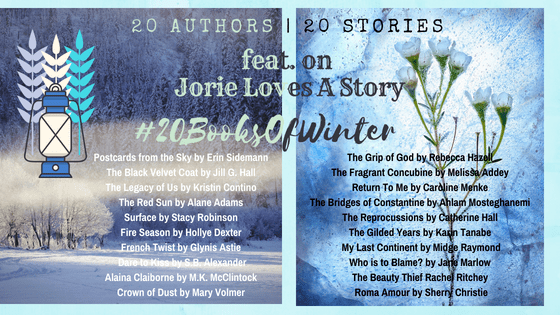 #20BooksOfWinter banner made by Jorie in Canva.