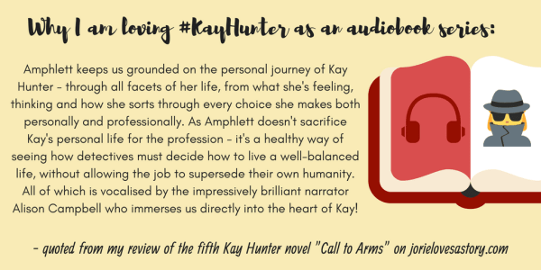 "Quote banner from my review of ""Call to Arms"" (Kay Hunter, book five) by Rachel Amphlett made by Jorie in Canva."