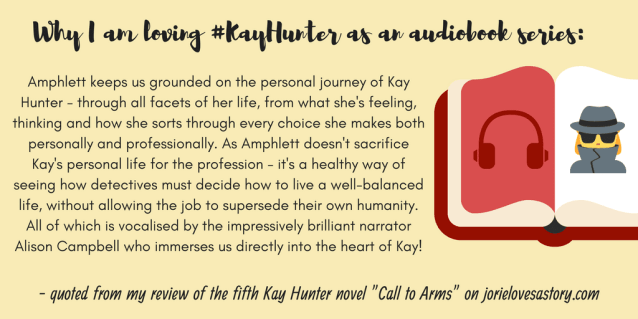 """Quote banner from my review of """"Call to Arms"""" (Kay Hunter, book five) by Rachel Amphlett made by Jorie in Canva."""