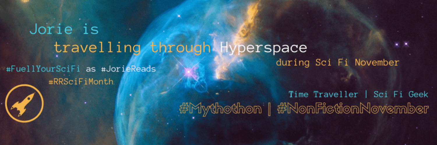 Sci Fi November | Mythothon | NonFiction November banner created by Jorie in Canva