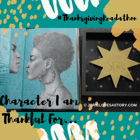 Character I am Thankful For badge created by Jorie in Canva. Photo Credit jorielovesastory.com