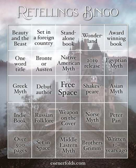 Retelling Reading Challenge Bingo Card created by Cornerfolds (blog) and is used with permission.