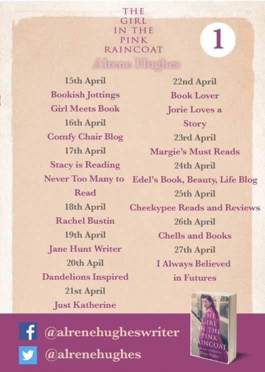 The Girl in the Pink Raincoat blog tour banner provided by Head of Zeus (publisher).