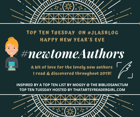 #TopTenTuesday for New Year's Eve 2019 badge created by Jorie in Canva.