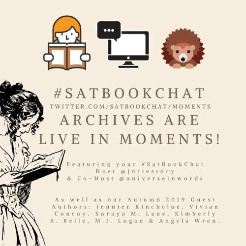 #SatBookChat Archives for Autumn 2019 badge created by Jorie in Canva.