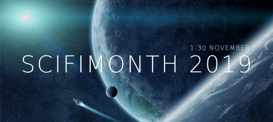 Sci Fi Month 2019 banner created by Imyril and is used with permission. Image Credit: Photo by Sebastien Decoret from 123RF.com.