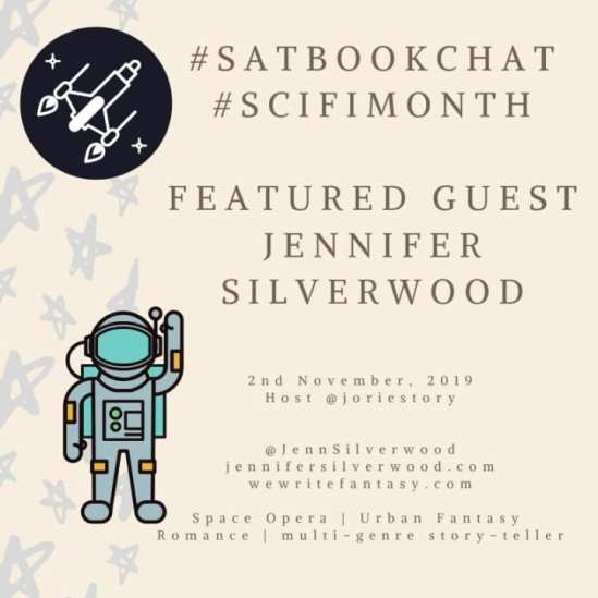 #SatBookChat Jennifer Silverwood badge created by Jorie in Canva.