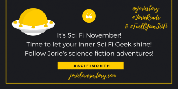 #SciFiMonth | Sci Fi November 2019 badge created by Jorie in Canva.