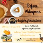 #ThanksgivingReadathon 2019 badge created by Jorie in Canva.
