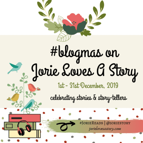 #blogmas 2019 badge created by Jorie in Canva.