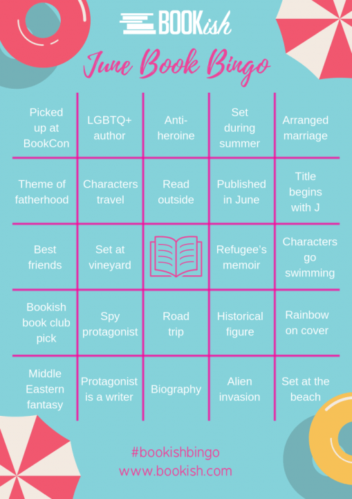 Bookish Bingo June provided by bookish.com and is used with permission.