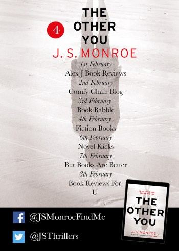 JS Monroe The Other You blog tour poster part four provided by Head of Zeus and is used with permission.
