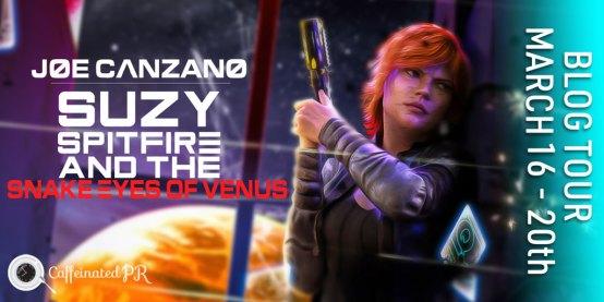 Suzy Spitfire blog tour banner via Caffeinated PR