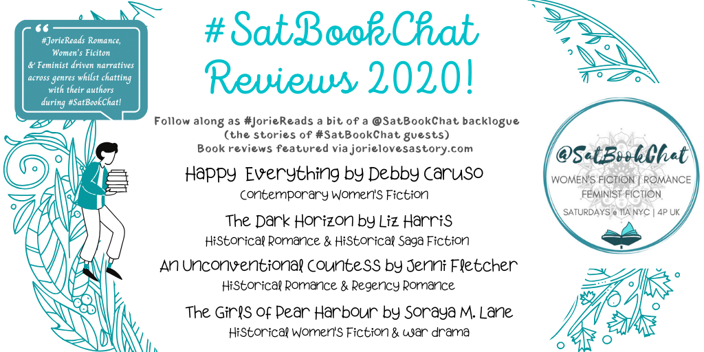 #SatBookChat Reviews 2020 banner created by Jorie in Canva.