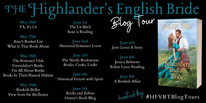 The Highlander's English Bride blog tour banner provided by HFVBTs.