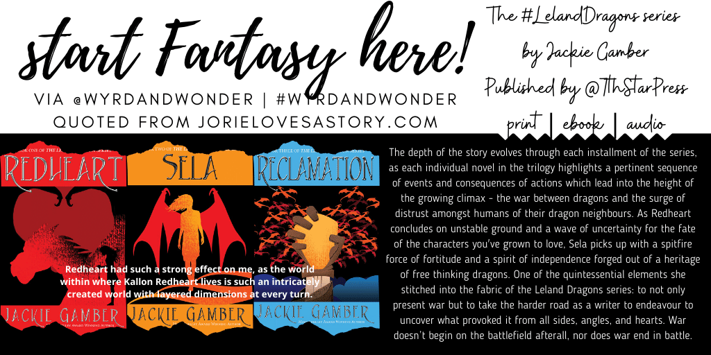 #WyrdAndWonder prompt Start Fantasy Here banner created by Jorie in Canva. Using the book covers with permission of Seventh Star Press for the Leland Dragons series.