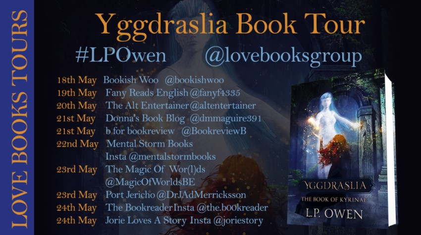 Yggdraslia blog tour banner provided by Love Books Group and is used with permission.