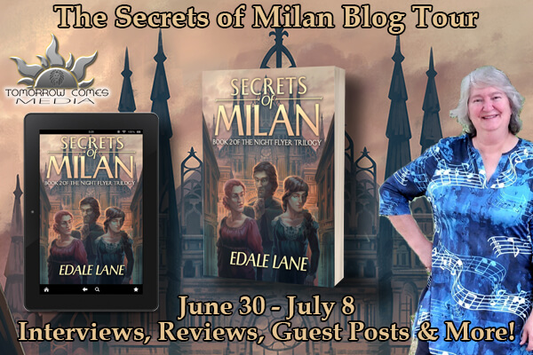 Secrets of Milan blog tour banner provided by Tomorrow Comes Media and is used with permission.