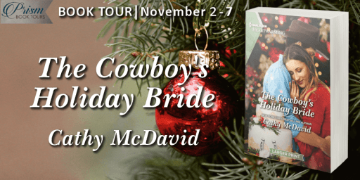 The Cowoboy's Holiday Bride blog tour banner provided by Prism Book Tours and is used with permission.