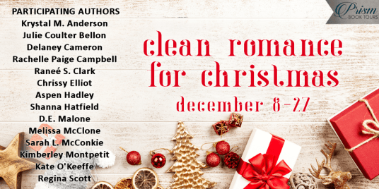 Clean Romance for Christmas blog tour banner provided by Prism Book Tours and is used with permission.