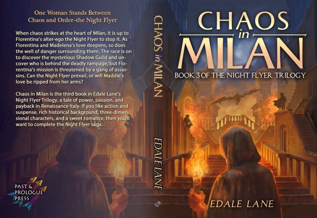 Chaos in Milan full front cover of the novel graphic provided by the author Edale Lane and is used with permission.