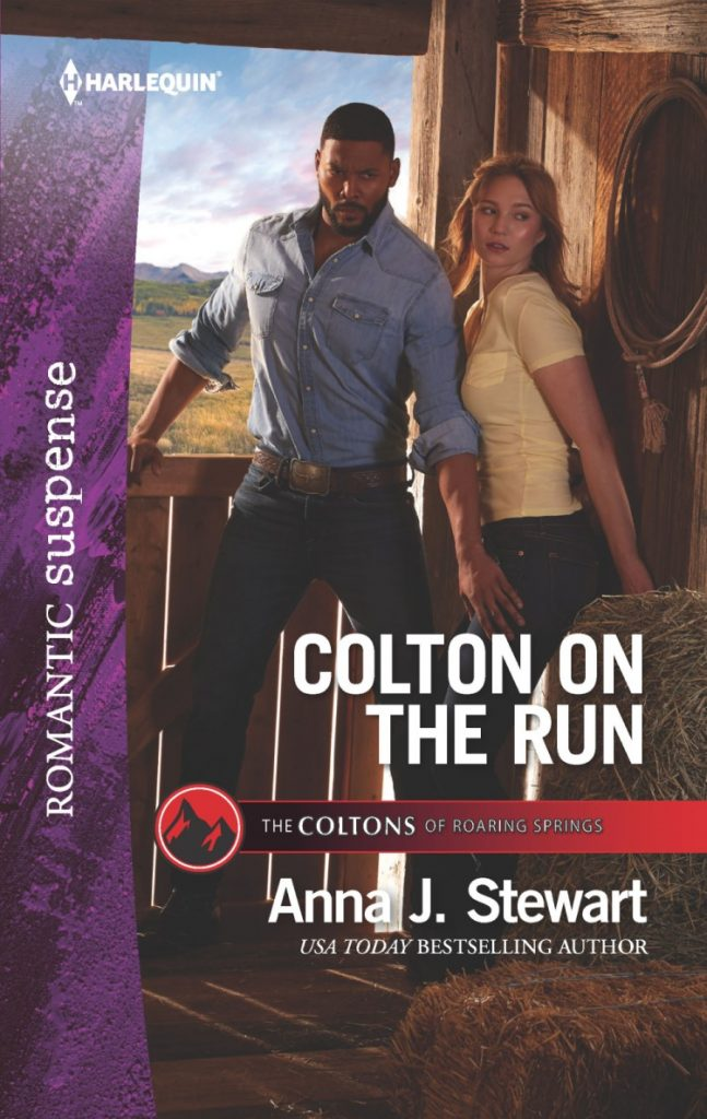 "#CrimeFicFridays | featuring Harlequin Romantic Suspense novel ""Colton on the Run"" (The Coltons of Roaring Springs series, Book 9) by Anna J. Stewart"