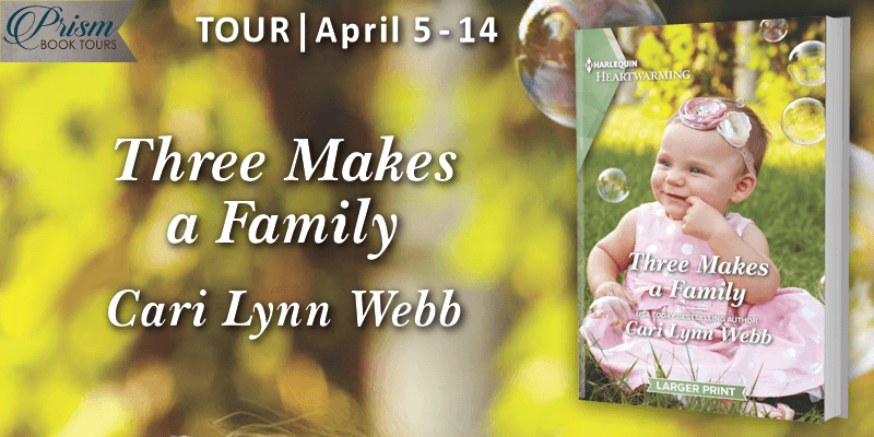 Three Makes A Family blog tour banner provided by Prism Book Tours and is used with permission.