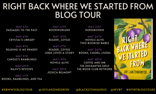 Right Back Where We Started From blog tour banner provided by HFVBTs and is used with permission.