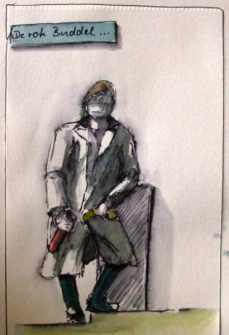 Am Cospudener See (Marina) (Fineliner, aquarelliert)