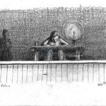 Bühnenbild Vorleser (Bleistift)