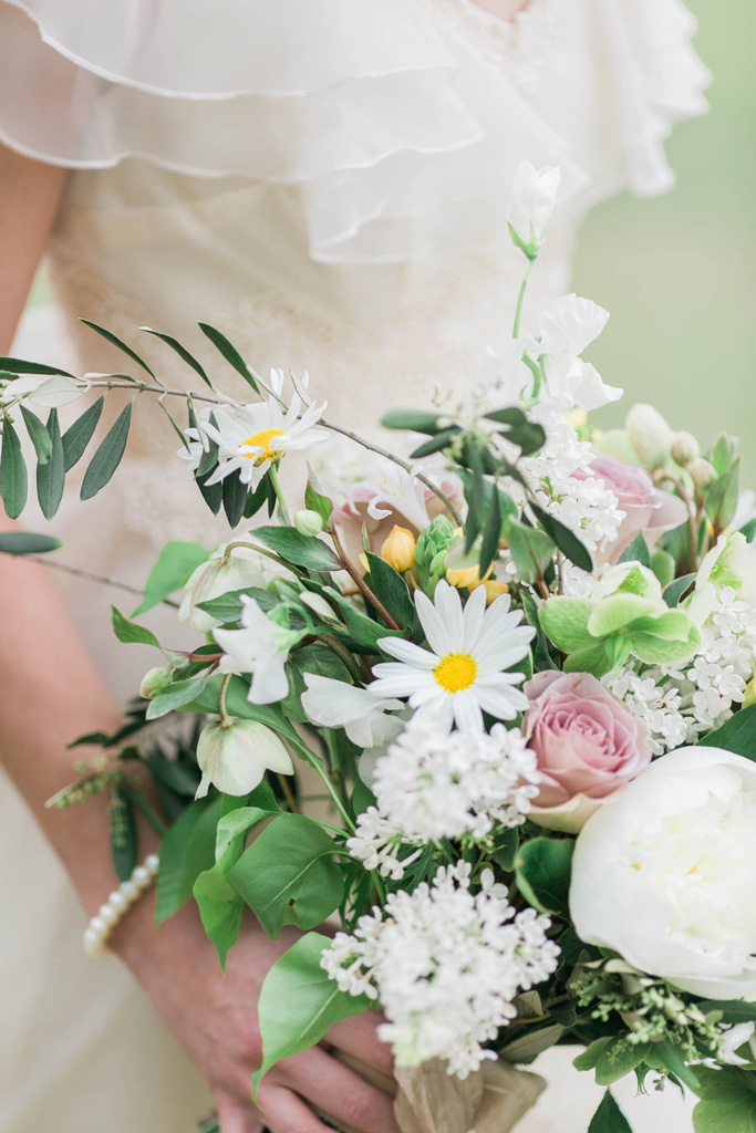 Wild romantic bouquet. Peony. Lavender roses. Lilac. Sweet peas. Daisy. Flowers and styling Jessica Ormond Events. Photography Emily Koontz.