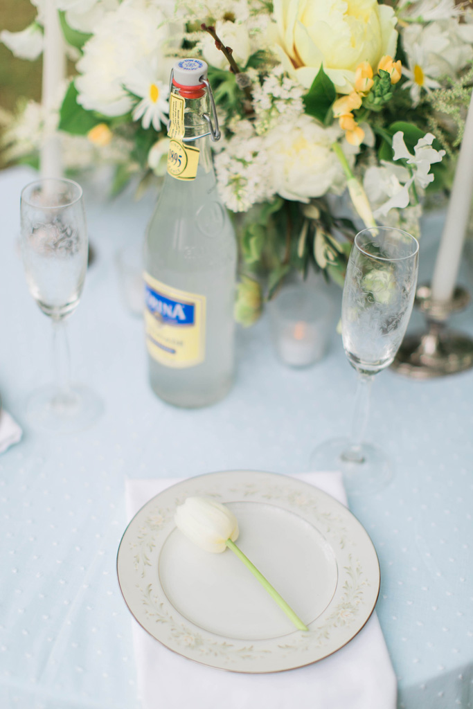 Yellow and blue wedding table setting. Flowers and styling Jessica Ormond Events. Photography Emily Koontz.