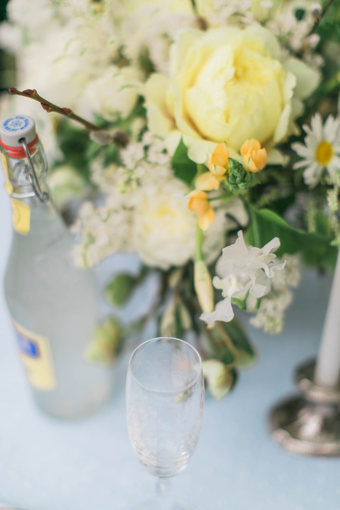 Yellow peony and blue wedding table setting. Flowers and styling Jessica Ormond Events. Photography Emily Koontz.
