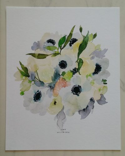 bridal bouquet watercolor by Salt Stains