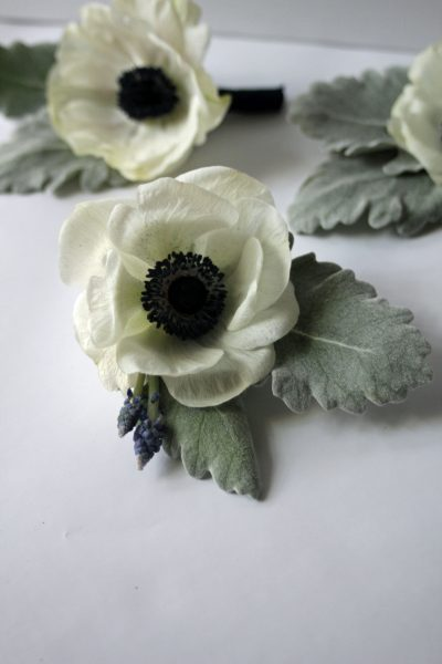 Anemone, Muscari, and Dusty Miller Boutonniere designed by Texas wedding florist Jessica Ormond Events