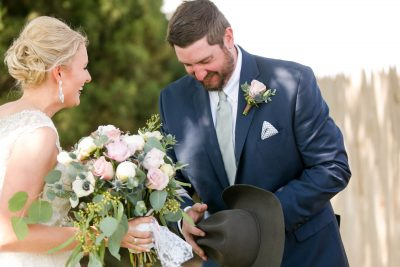 First Look - Rustic Chic Lubbock Wedding. Texas florist, Jessica Ormond Events. Photo by Allee J Photography.