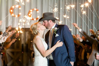 West Texas wedding sparkler send off at Cotton Creek Barn. Wedding planner Jessica Ormond Events. Lubbock Photographer Allee J.