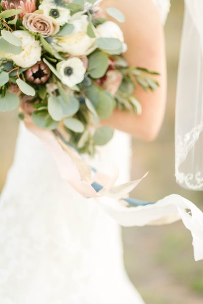 Silk ribbons on bridal bouquet created by Jessica Ormond Events. Photo by Allee J.