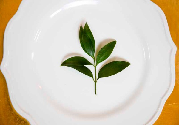 Plate detail with sprig of greenery