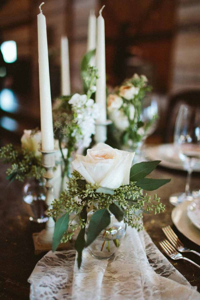 Sweetheart table with garden roses and candles. Flowers designed by Texas wedding florist Jessica Ormond Events. Image taken by Ashley J Photography.