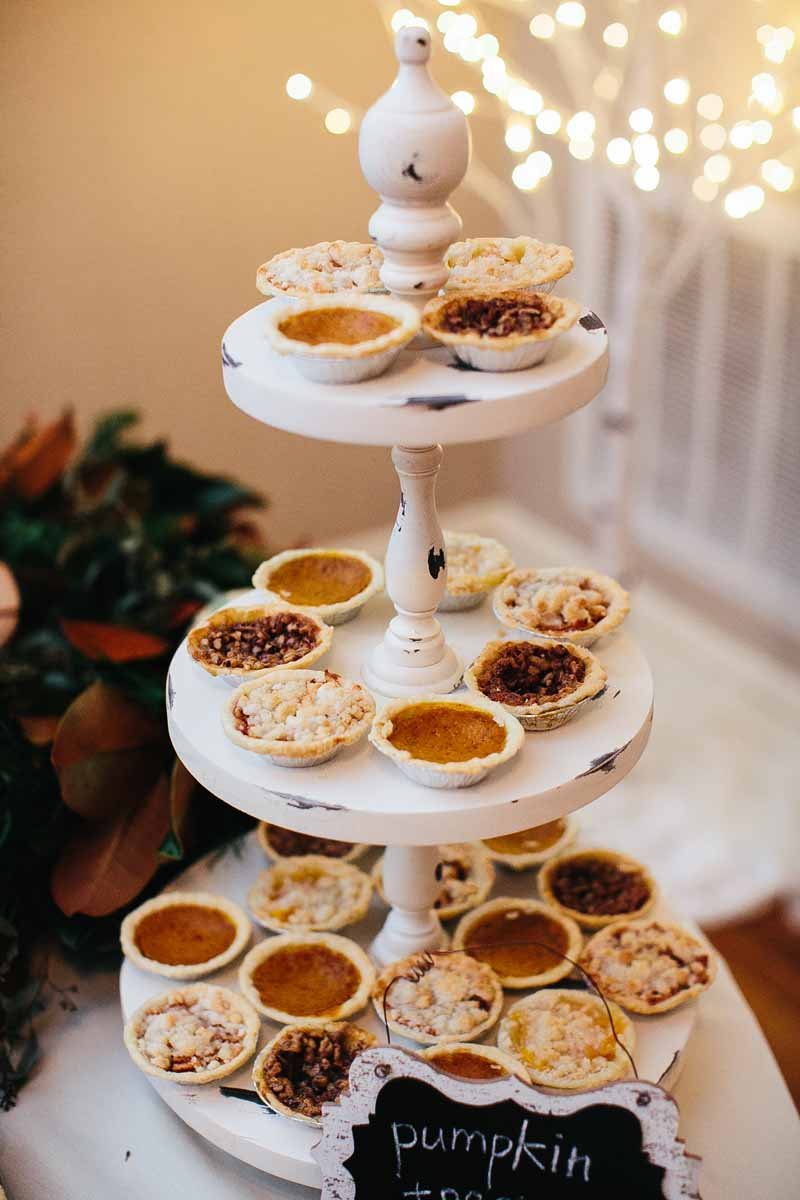 Individual pies for dessert buffet at winter reception. Photo by Betsy. Lubbock Wedding Planner Jessica Ormond Events.