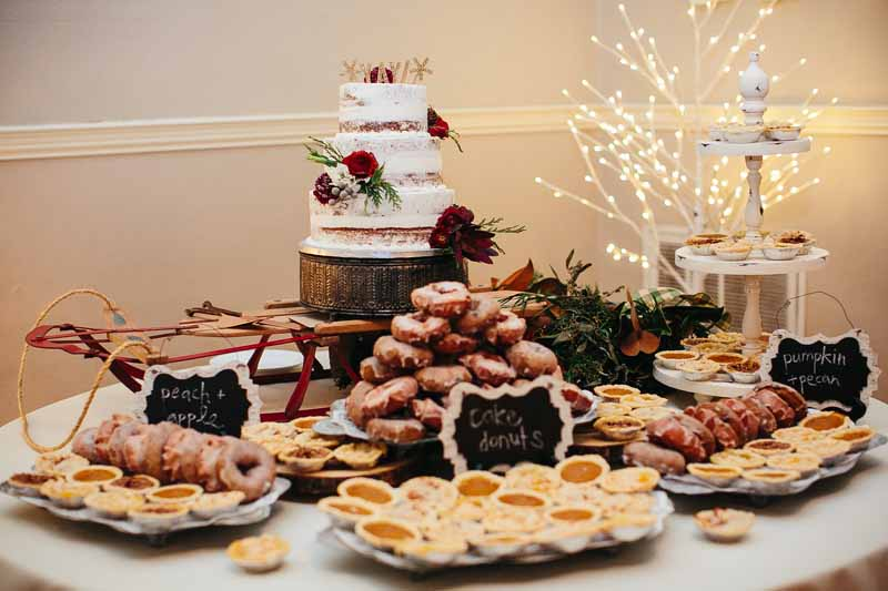 Winter wonderland wedding dessert table. Styling by Jessica Ormond Events. Photo by Betsy.