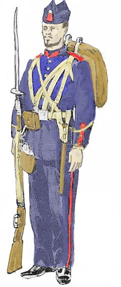 Soldado da Infantaria Brasileira de Linha de Frente do século XIX desenho pelo desenhista e correspondente de guerra Melton Prior (1845-1910). Colorido digitalmente por Mauro Demarchi